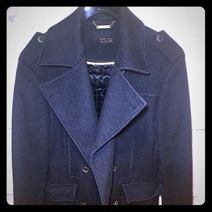 Zara pea coat gray
